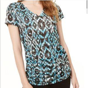 2/$20 INC Black Blue Side Ruched V-Neck Top, L